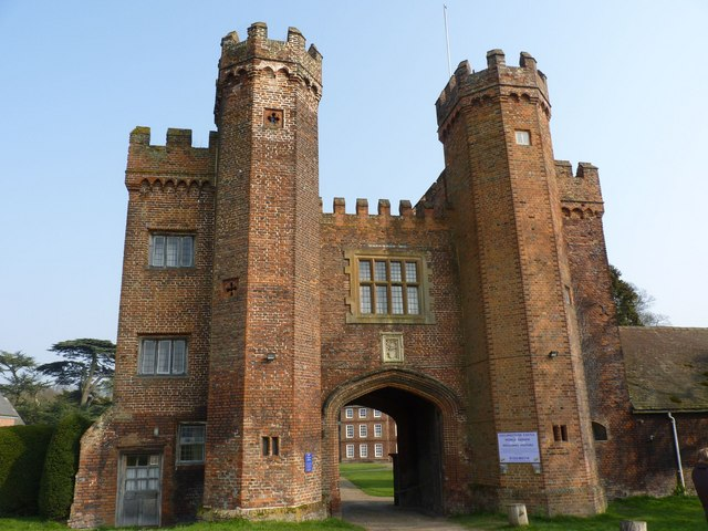The facade of Lullingstone Castle and twin towers
